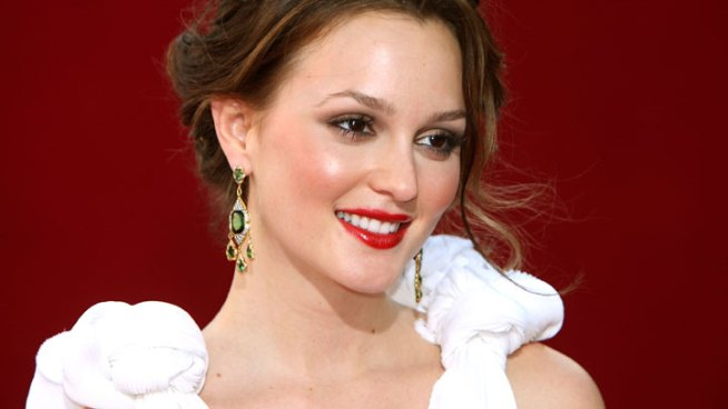 Leighton Meester chats at the