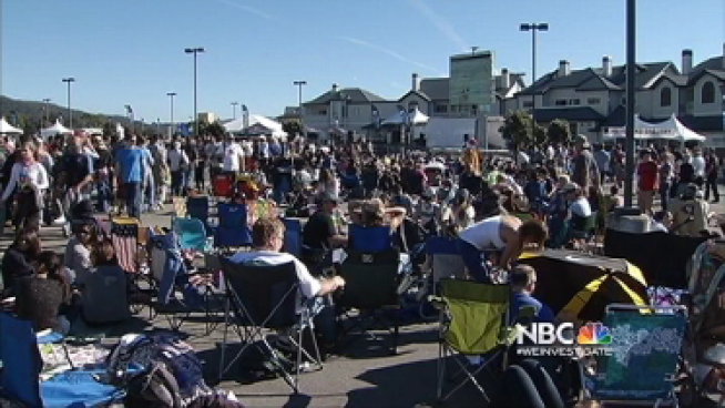 Fans gathered at Pillar Point Harbor in Half Moon Bay to watch surfers duke it out at Mavericks Surf Competition