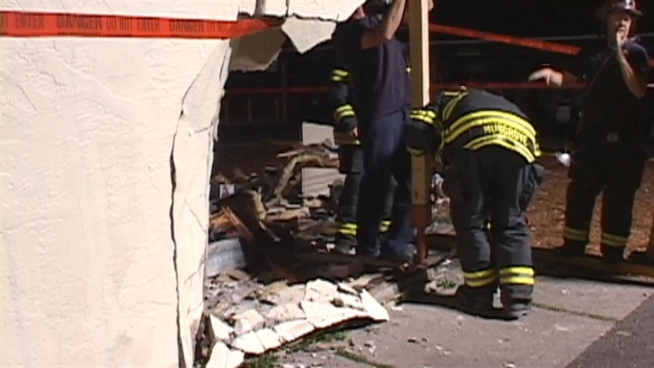 An out-of-control car plowed into a six-unit apartment complex in Santa Rosa late Tuesday night, leaving a gaping hole in a bedroom wall -- and a sleeping man thankful he's alive.