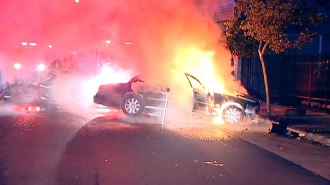 A man was pulled from a burning vehicle Sunday night in San Francisco. Police and other witnesses talk about it here.