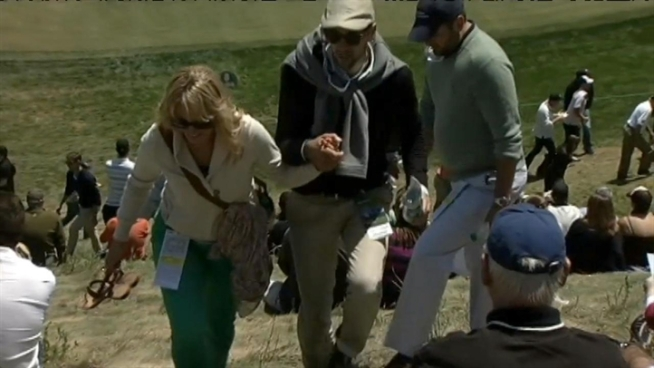 The steep hill near the 8th hole caused some golf fans to slip and fall during the US Open in San Francisco Friday. NBC Bay Area's Cheryl Hurd reports.