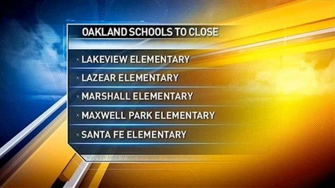 Oakland Superintendent releases list of five schools that will close next year.
