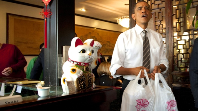 President Gets Take Out From Chinatown
