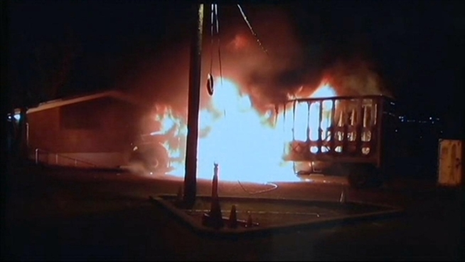 Two men got very lucky Monday morning when their laundry run to the Alameda County juvenile hall sparked a fire in their big rig. Bob Redell reports. (Some of this video is courtesy of Alameda County fire)