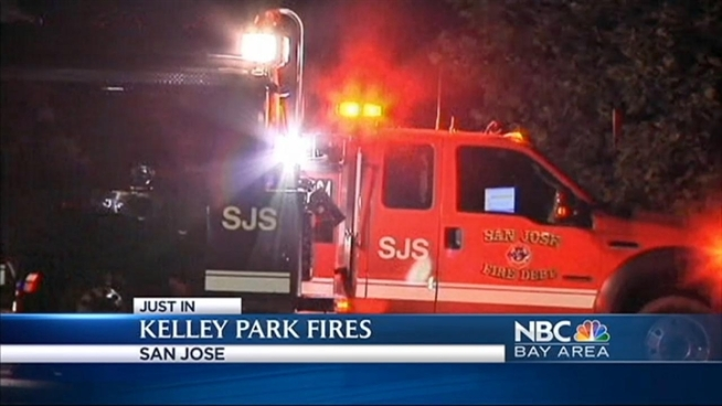 Firefighters responded to vegetation fires in San Jose's Kelley Park Tuesday night, a fire dispatcher said. The fires were extinguished and arson is suspected.
