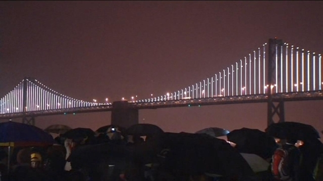 Thousands of people gathered near the Bay Bridge to see the official debut of The Bay Lights.
