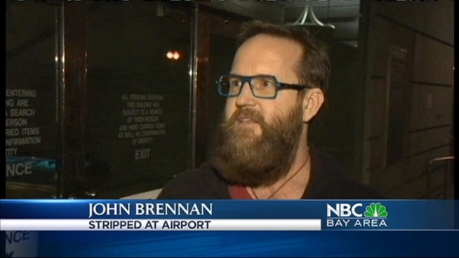 An air traveler, bound for San Jose, wound up in handcuffs overnight after taking off all  his clothes in an airport security line.