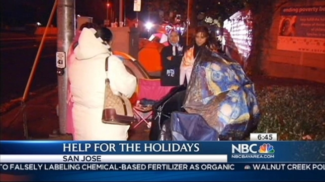 Long lines began forming Thursday night at San Jose's Sacred Heart Community Service center so that people could sign up for the annual food and holiday toy drive. Organizers expected 7,000 people to sign up by Christmas. Christie Smith reports.