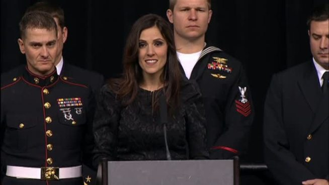 Taya Kyle, the wife of slain Navy SEAL Chris Kyle, spoke at a memorial honoring her husband Monday, Feb. 11, 2013.