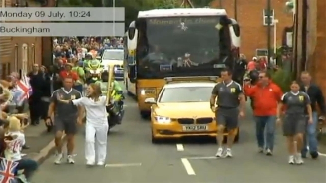 Sarah Williams of Pleasanton arrives in London to carry an Olympic torch for the 2012 games. The teen was chosen to be one of 8,000 torch bearers as an honor for her nonprofit work making blankets for foster children.