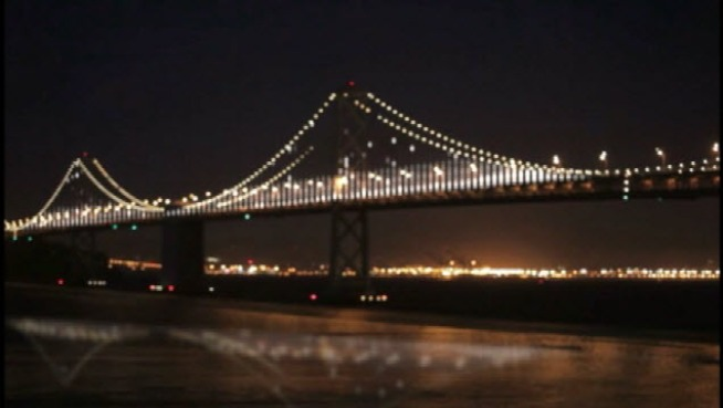 In early March, the Bay Bridge will turn into the world's largest light display. Crews are currently in the midst of hanging those lights and NBC Bay Area's Joe Rosato Jr. got to tag along.