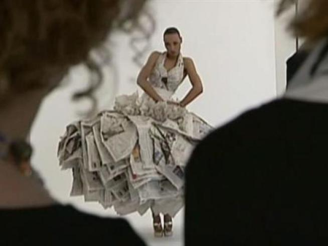 Fashion Designer Creates Couture from Newsprint
