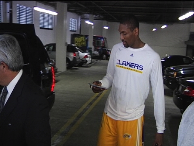Still in uniform, Ron Artest talks about his big night and what happened to his jersey.