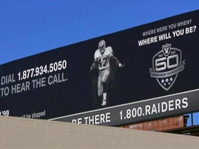 A look at the Oakland Raiders toll-free billboards scattered across the Bay Area, plus some of the 'rejected' ones you won't see and a new Sports Sunday promo.