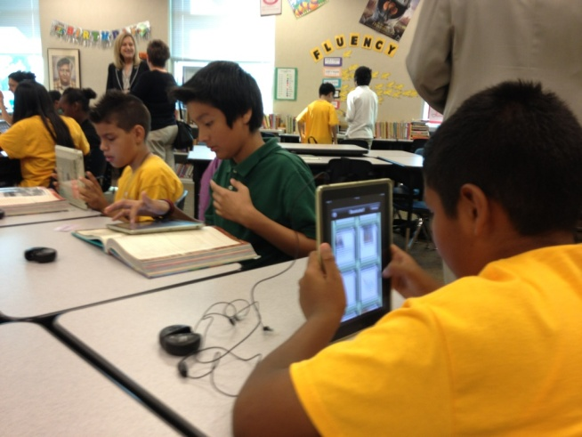 Students at San Antonio Elementary School in San Jose have iPads and iPod Touches, thanks to federal stimulus dollars.