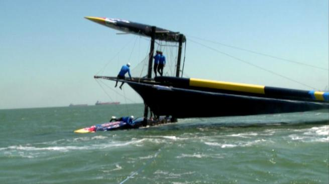 America's Cup Youth Racing Boat Capsizes