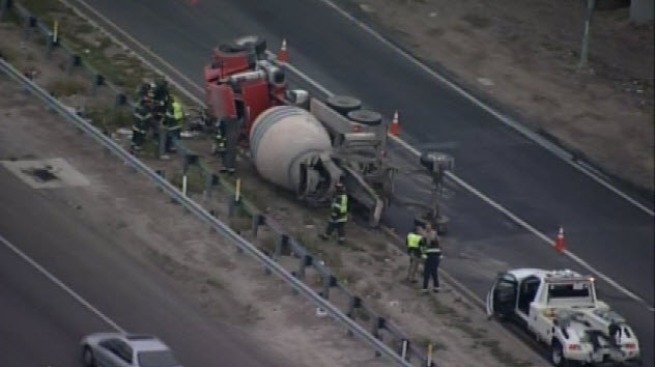Cement Truck Flips Over in San Jose