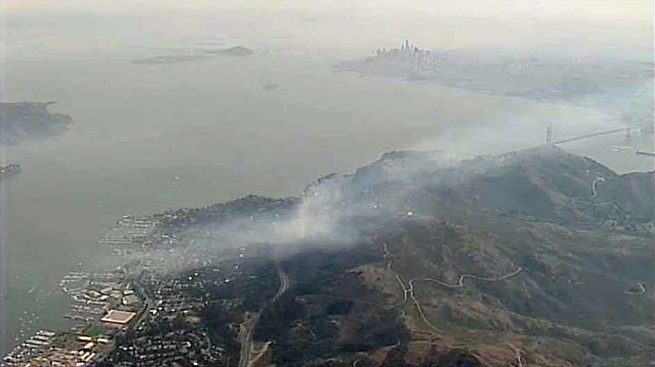 Grass Fires in Hills Above Sausalito Prompt Closure of Southbound Highway 101