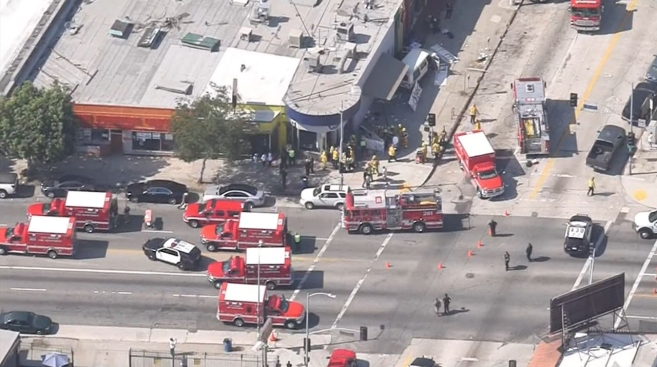 At least 6 people injured when van plows into LA crowd