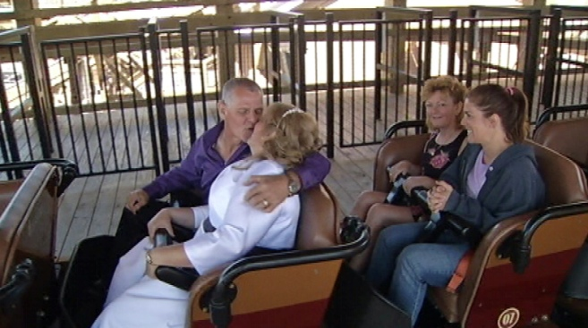 Couple Takes Wedding Vows on Gold Striker Roller Coaster at California's Great America