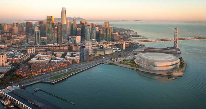 Golden State Warriors Update Design of Waterfront Arena Project