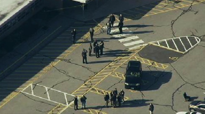 Chopper 4 was over Sandy Hook Elementary School in Newtown, Conn., where a gunman opened fire, killing at least 26 people.