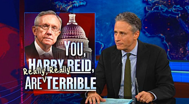 Stewart Rips into Harry Reid, Channels Ghost of Mitt Romney's Father