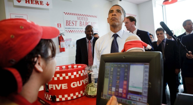 Obama Goes For Friday Five Guys With Brian Williams