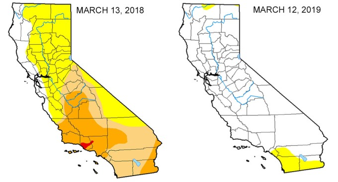 Map Look At The Drought Difference In California From One Year Ago