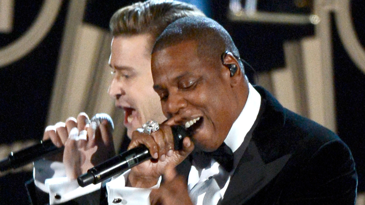 Singer+Justin+Timberlake+%28L%29+and+rapper+Jay-Z+perform+onstage+at+the+55th+Annual+GRAMMY+Awards+at+Staples+Center+on+February+10%2C+2013+in+Los+Angeles%2C+California.+%28Photo+by+Kevork+Djansezian%2FGetty+Images%29+