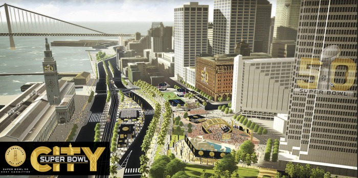 [BAY] Crews Begin Setting Up Super Bowl 50 City