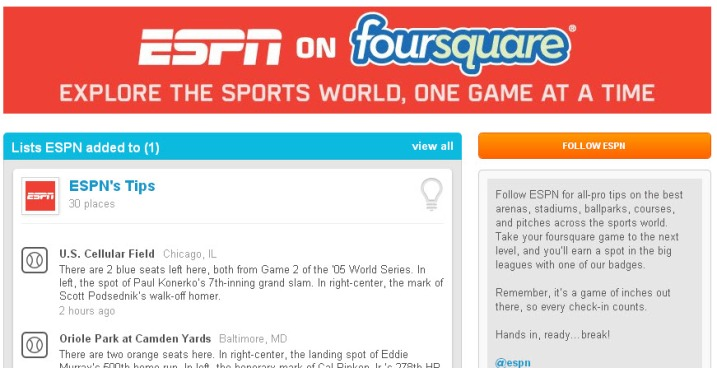 ESPN, Foursquare Team Up