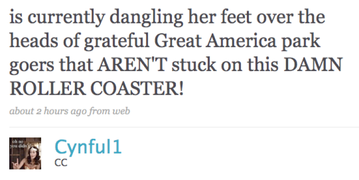 Did Roller-Coaster Rider Tweet Away the Pain?