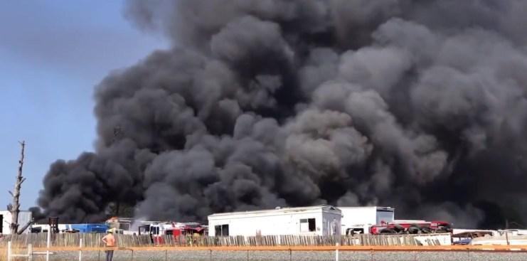 Multi-Vehicle Fire Burning South of Santa Rosa