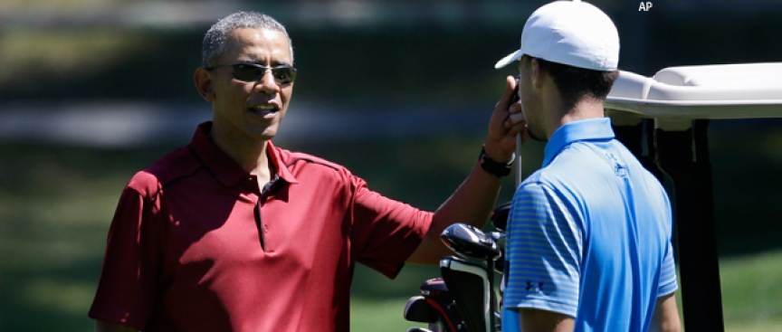 Warriors' Curry Plays Golf With President Obama