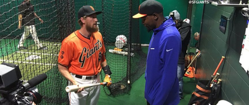 Warriors' Kevin Durant Spends Evening With Giants