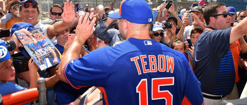 Hundreds of Fans Show Up to Tebow's Up-and-down Mets Workout