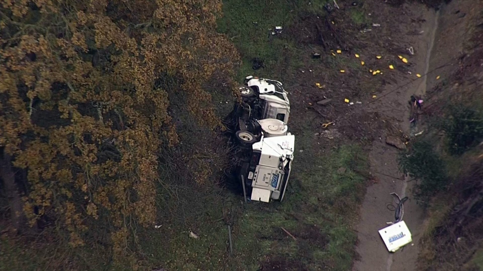 Street Sweeper Driver Hospitalized After Truck Swerves Off Interstate 680