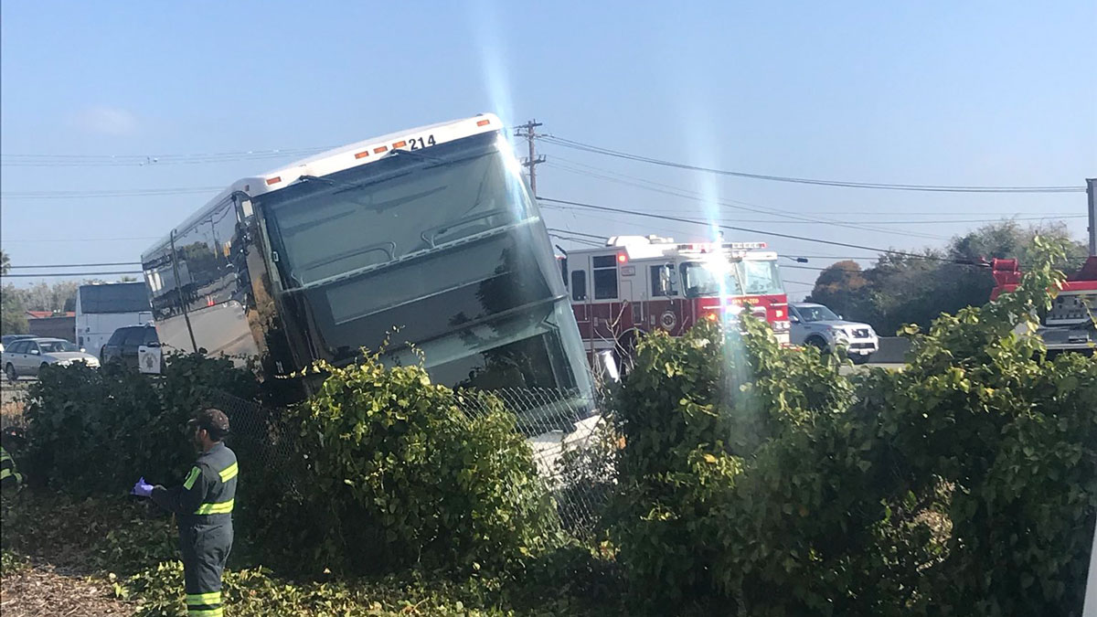 Google Bus Crashes Due to 'Mechanical Issue' in San Mateo