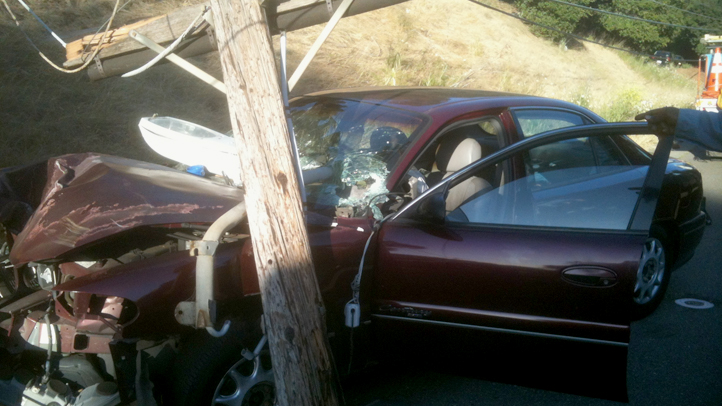 The driver of this car crashed into a power pole on Mountain Boulevard in Oakland, Calif., on June 8, 2012. The crash started a 3-alarm fire near I-580 and left about 6,800 people without power.