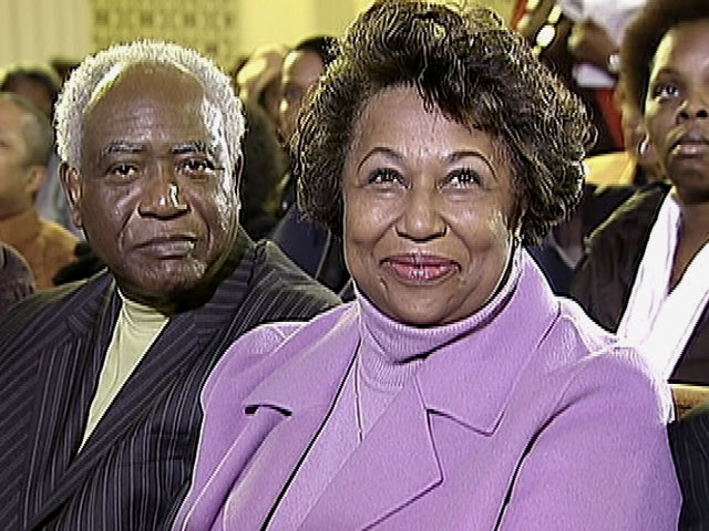 Carol Moseley Braun and Danny Davis sit together at a Rainbow-PUSH event on Jan. 1, 2011.